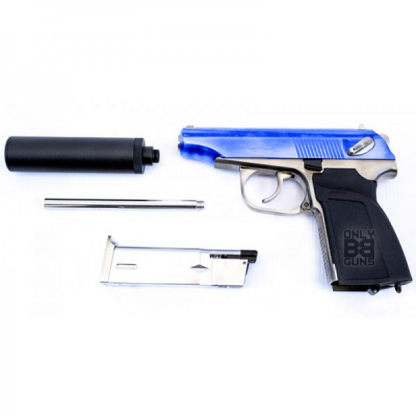 WE Makarov 654K with Silencer GBB Pistol (Silver)