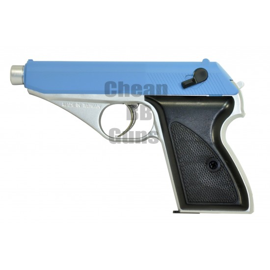 Gas powered SRC PPK Pistol 7.65mm (Silver and Blue)